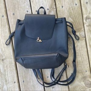 Top shop black leather backpack purse drawstring